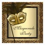 Gold Black Leopard Masquerade Party Personalized Invitations