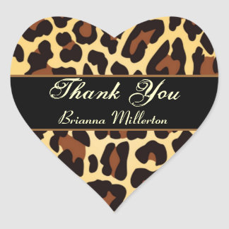 Gold Black Leopard Thank You Sticker