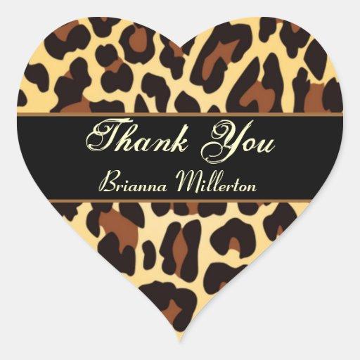 Gold Black Leopard Thank You Sticker