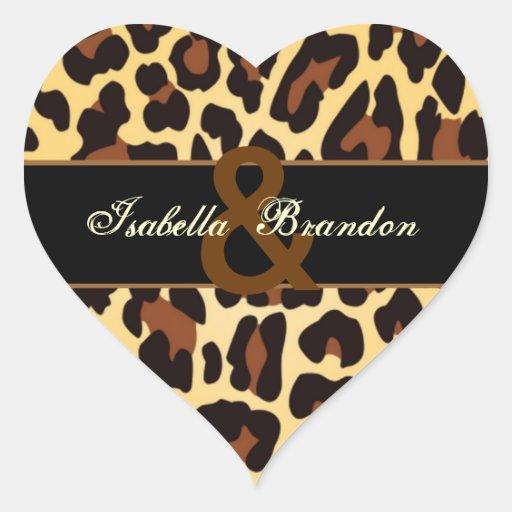 Gold Black Leopard Wedding Heart Stickers