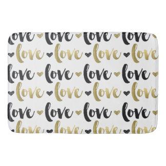 Gold Black Love Heart Bath Mat