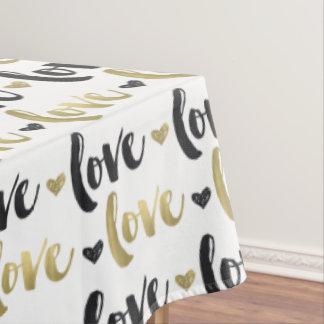 Gold Black Love Heart Tablecloth