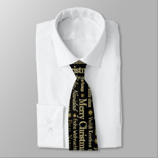 Gold & Black Merry Christmas In Many Languages Tie