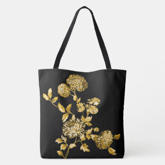 Gold & Black Modern Botanical Floral Toile Tote Bag