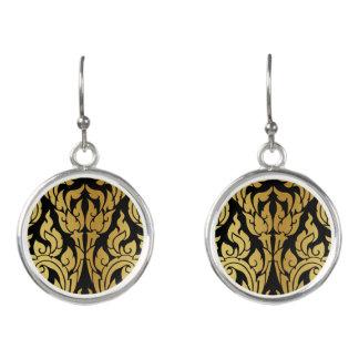 Gold Black Modern Design Style Kanok Lai Thai Earrings