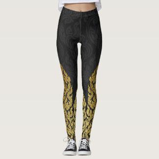 Gold Black Modern Design Style Kanok Lai Thai Leggings