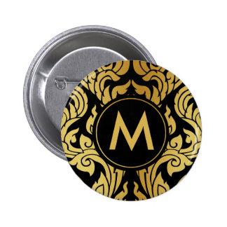 Gold Black Modern Design Style Kanok Thai Monogram 6 Cm Round Badge