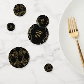 Gold & Black Modern Vintage Glam Art Deco Confetti