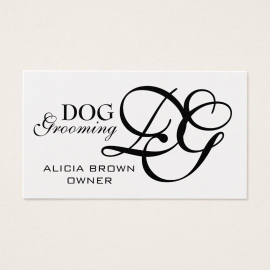 Gold Black Monogram Dog Grooming Business Cards