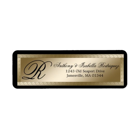 Gold Black Monogram Wedding Return Address Labels