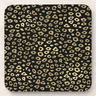 Gold Black Ombre Leopard Print Drink Coaster