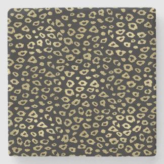 Gold Black Ombre Leopard Print Stone Beverage Coaster