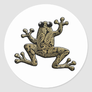 Gold Black Paisley Climbing Frog Round Stickers