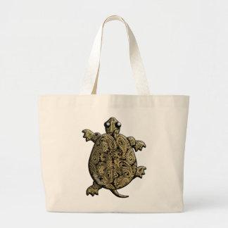 Gold Black Paisley ClimbingTurtle Large Tote Bag