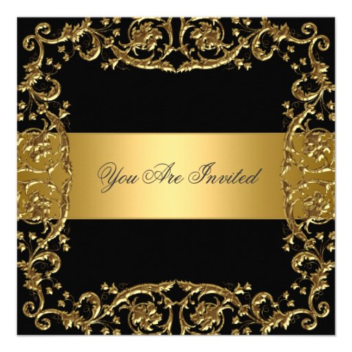 Gold Black Party Invitation Floral Frame Custom Announcement
