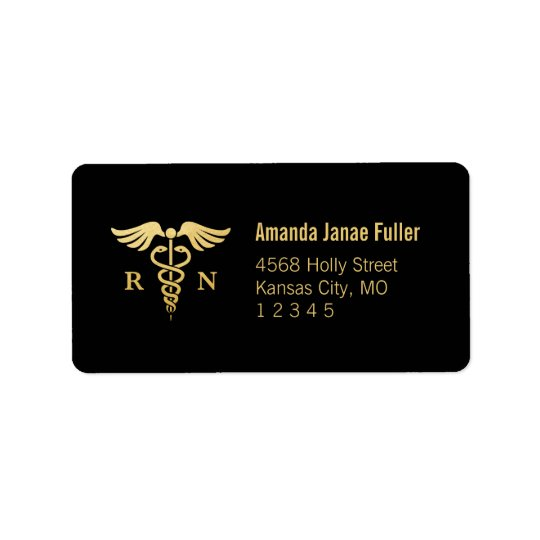 Gold & Black Personalised Nurse Address Label