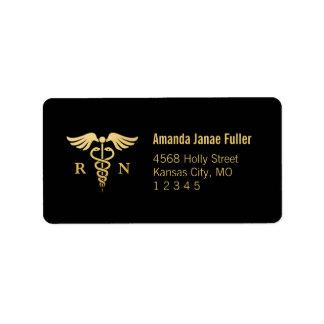 Gold & Black Personalized Nurse Address Label
