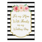 Gold Black Pink Floral Mum Wedding Day Thank You Card