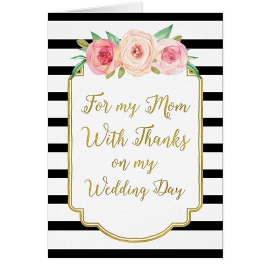 Gold Black Pink Floral Mum Wedding Day Thank