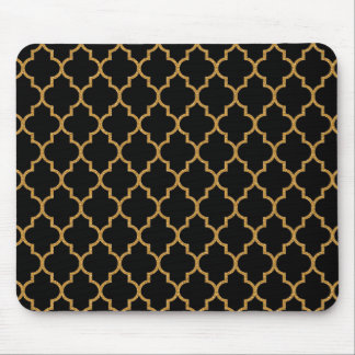 Gold Black Quatrefoil Pattern Mouse Mat