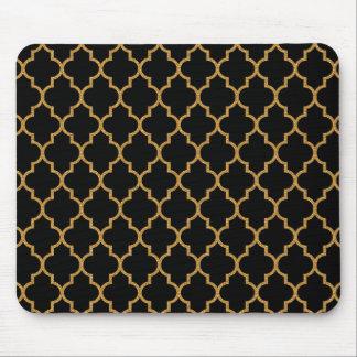 Gold Black Quatrefoil Pattern Mouse Pad