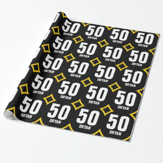 GOLD BLACK Retro 50th Birthday Custom Name D05 Wrapping Paper