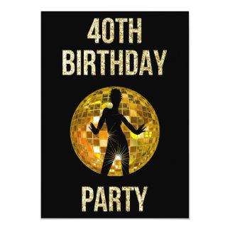 Gold & Black Retro Disco Glitter Ball 40th Party 13 Cm X 18 Cm Invitation Card