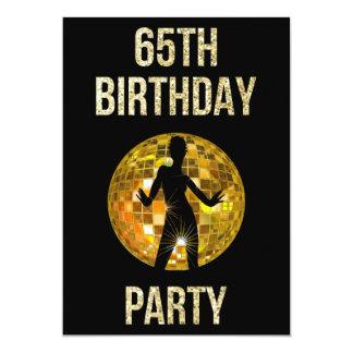 Gold & Black Retro Disco Glitter Ball 65th Party 13 Cm X 18 Cm Invitation Card