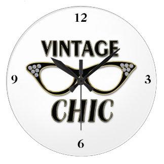 Gold & Black Retro Glasses Vintage Chic Bling Clock