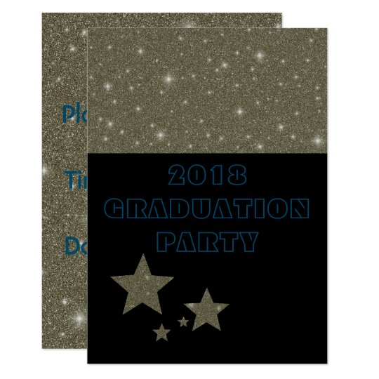 Gold Black Retro Stars Graduation Invitations