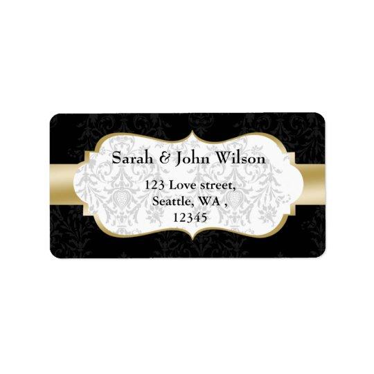 gold black  ,return address label