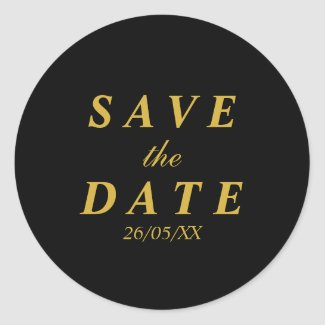 Gold & black save the date sticker