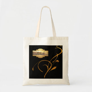 Gold Black Scroll Monogram Wedding Party Bag/Tote