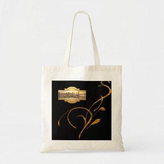 Gold Black Scroll Monogram Wedding Party Bag/Tote