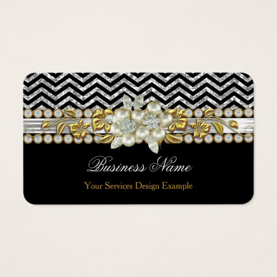 Gold Black Silver Chevron Diamond Pearl Floral Business