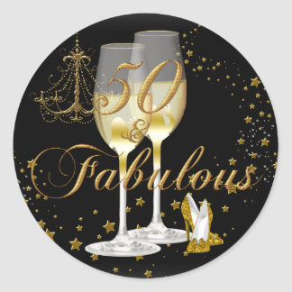 Gold Black Sparkle 50 & Fabulous Birthday Sticker