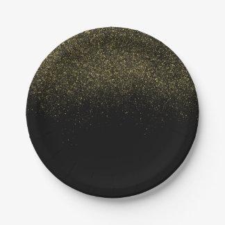 Gold Black Sparkle Glitter 7 Inch Paper Plate