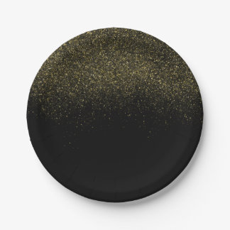 Gold Black Sparkle Glitter Paper Plate