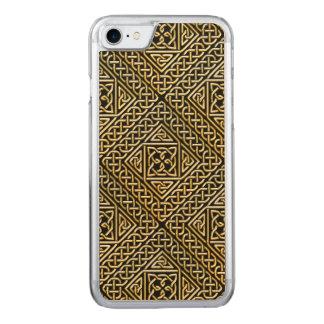 Gold Black Square Shapes Celtic Knotwork Pattern Carved iPhone 8/7 Case