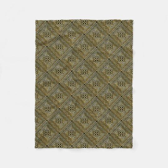 Gold Black Square Shapes Celtic Knotwork Pattern Fleece