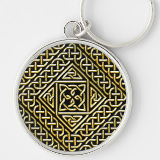 Gold Black Square Shapes Celtic Knotwork Pattern Key Chains