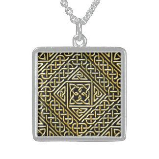 Gold Black Square Shapes Celtic Knotwork Pattern Pendants