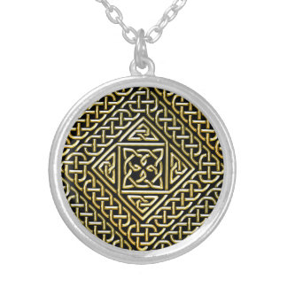 Gold Black Square Shapes Celtic Knotwork Pattern Pendant