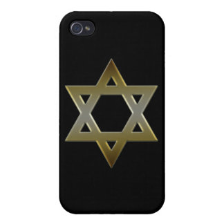 Gold Black Star of David  Case For The iPhone 4