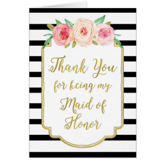 Gold Black Stripe Pink Thank You Maid of Honor Greeting Card