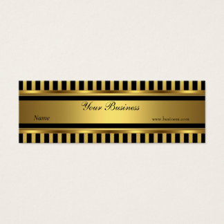 Gold Black Stripe Skinny Mini Business Card
