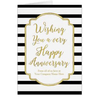 Gold Black Stripes Employee Anniversary Card