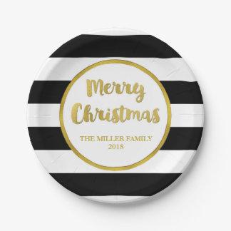 Gold Black Stripes Merry Christmas Custom Plates