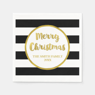 Gold Black Stripes Merry Christmas Napkin Disposable Serviettes
