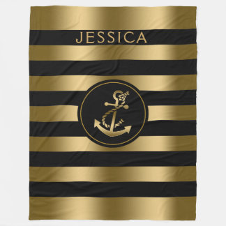 Gold & Black Stripes With Gold Nautical Anchor Fleece Blanket